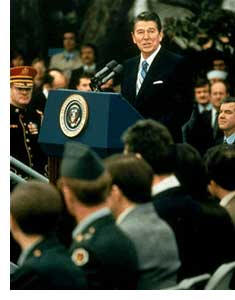 "ronald reagans inaugural address In the opening of his first inaugural address in 1981, president reagan echoed  the preamble of the constitution, calling on the country's citizens to ""preserve this ."